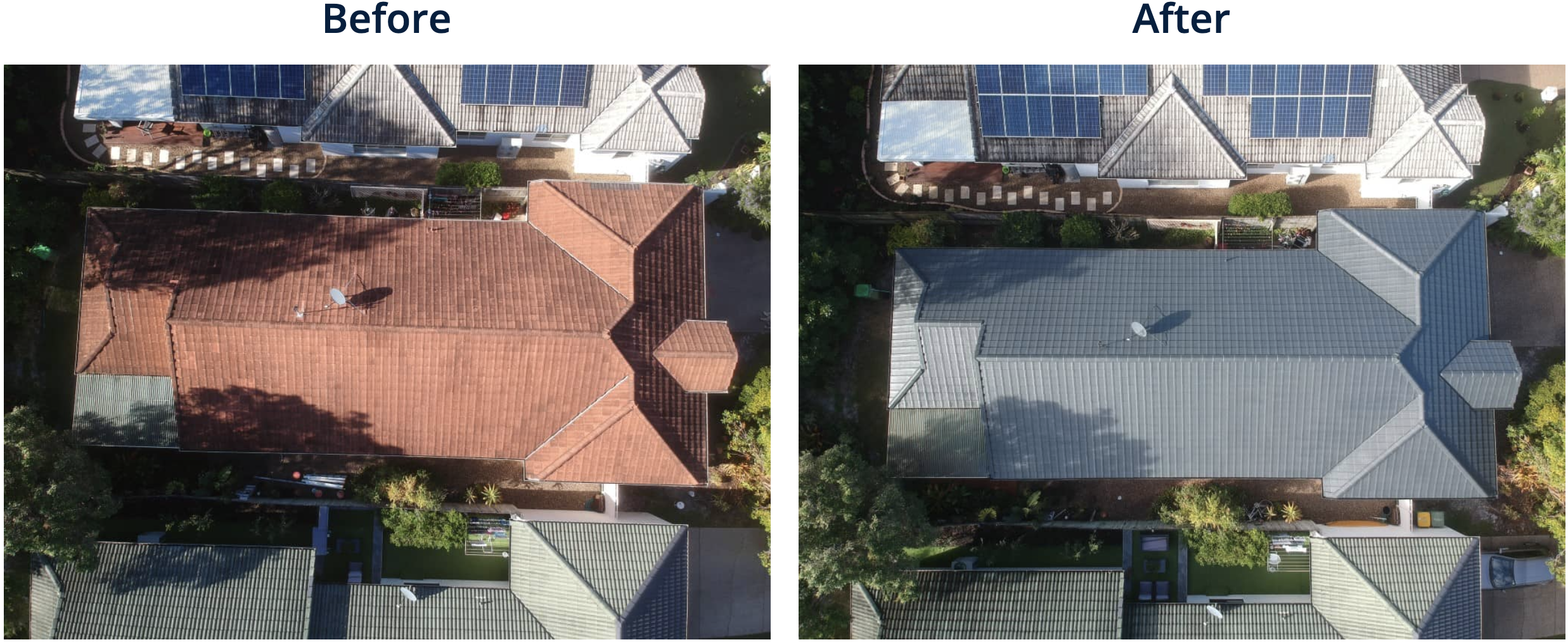 Before and after picture of roof restoration